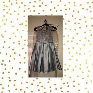 Semi Formal Satin Grey Dress